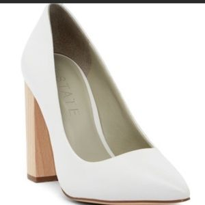 White pointed closed toe wooden chunky high heels